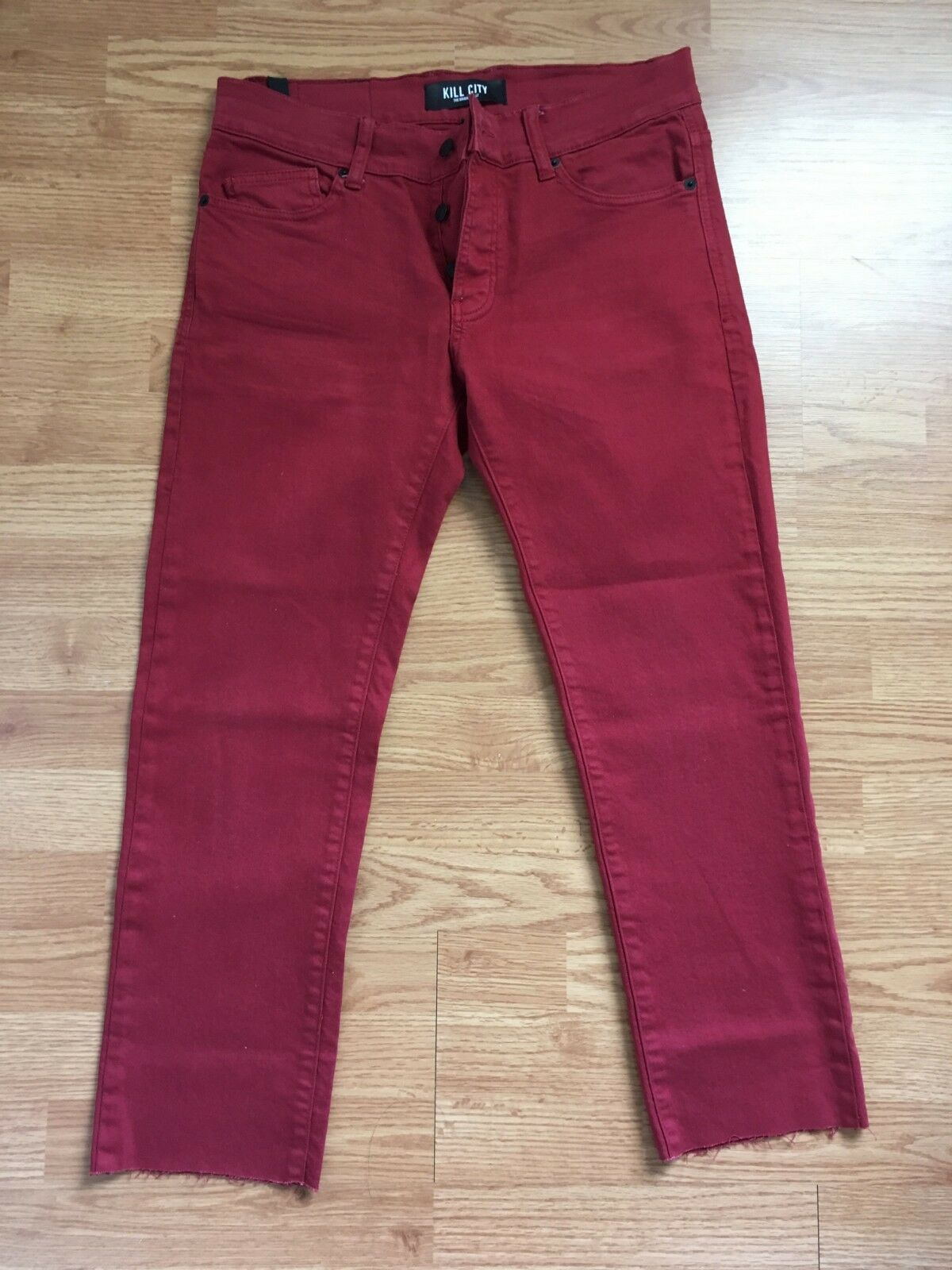 KILL CITY SLIP RED PANT CUT CAPRI HIGH WATER SLIM FIT RED button fly 32 34
