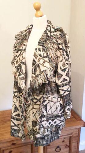 10 Javquard 8 con Uk Zara Xs Bnwt taglia S frange Green Ecru Coat xqwCPw6gB