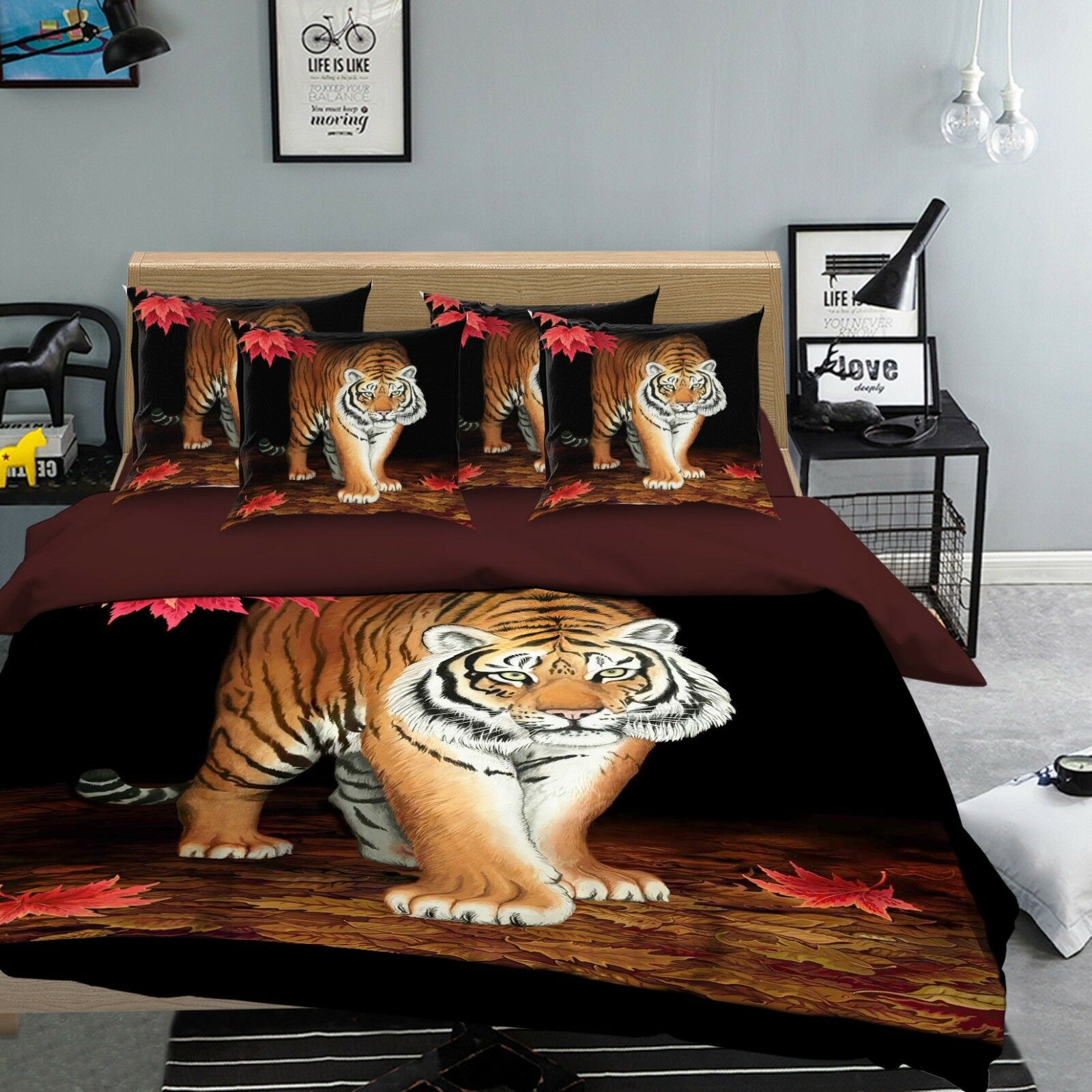3D Tiger Leaves Bed Pillowcases Quilt Duvet Cover Set Single Queen King Dimensione AU
