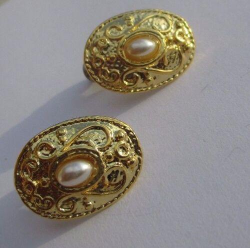 boucles d/'oreilles percées bijou vintage ovale couleur or demi perle 3237