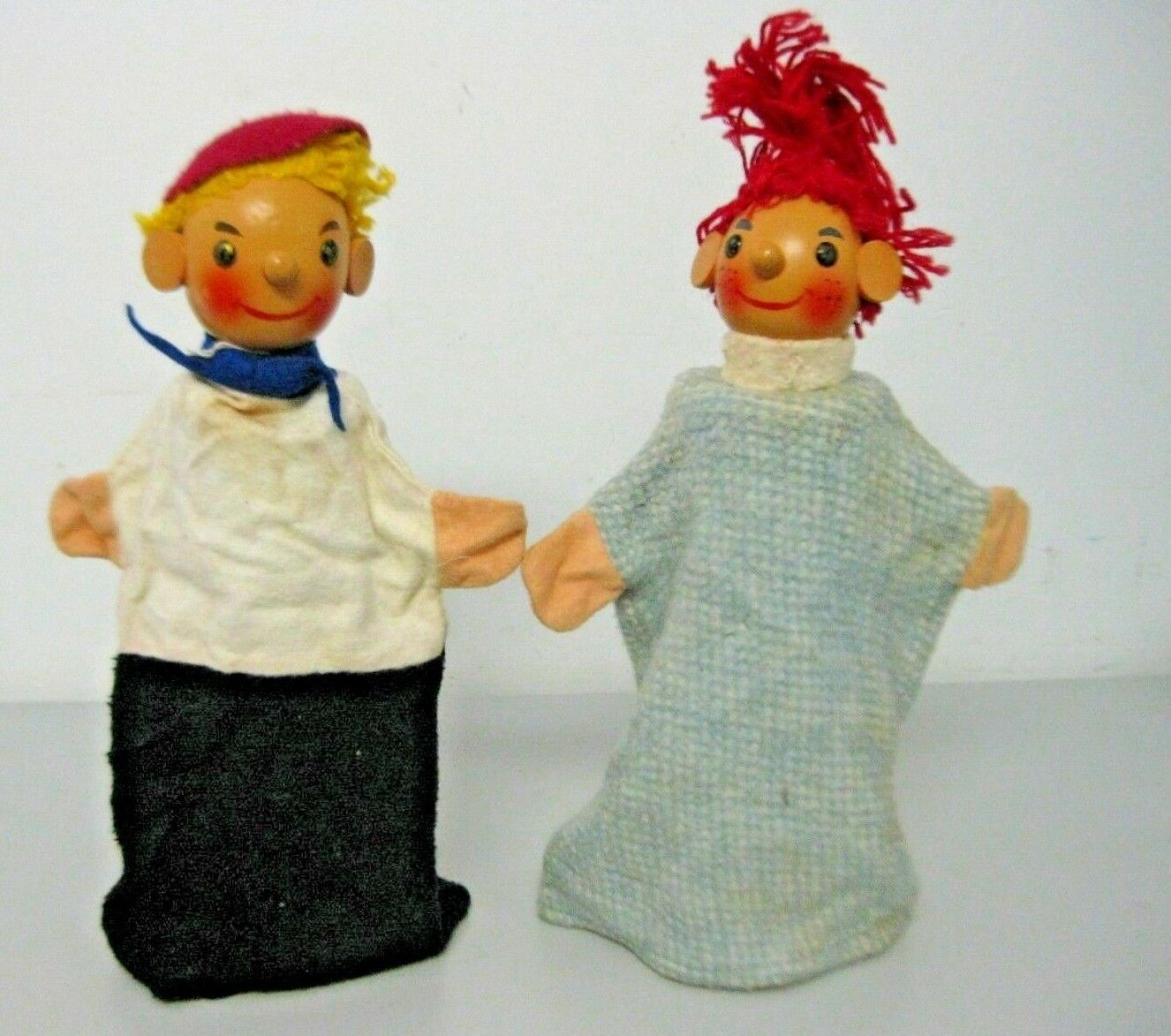 Vintage Son and Daughter Wooden Head Hand Puppets Fabric Bodies Set of 2