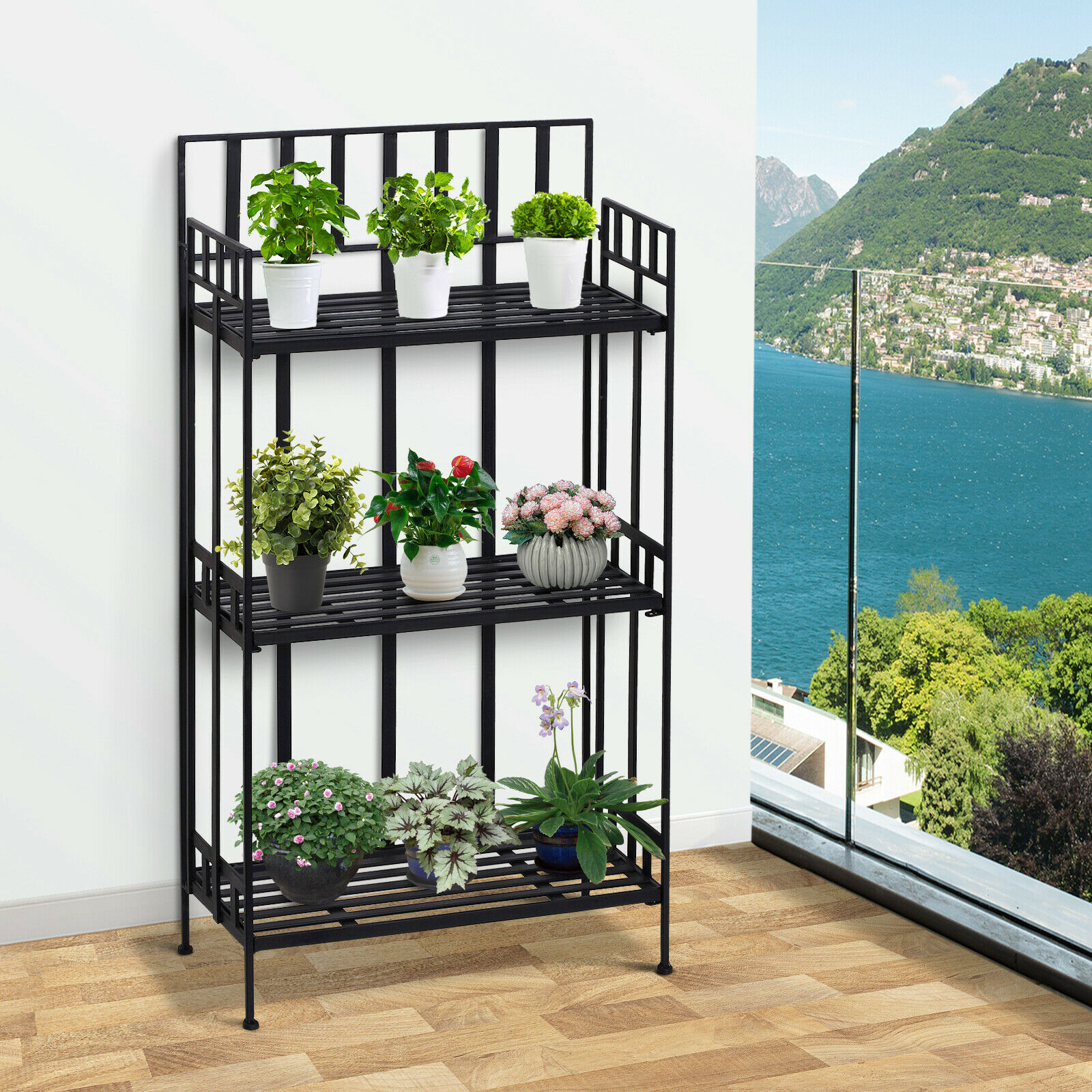 Outsunny Portable Retro 3 Tier Garden Plant Stand Metal Flower Display Rack For Sale Online Ebay