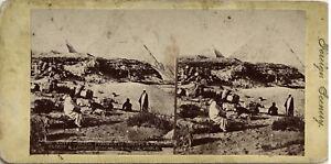 Egitto-Piramidi-Giza-Fotografia-Stereo-Vintage-Albumina