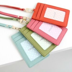 quality design dfe97 62777 Details about ID Window Leather Card Holder Card Case Badge Wallet Neck  Strap Lanyard Korea