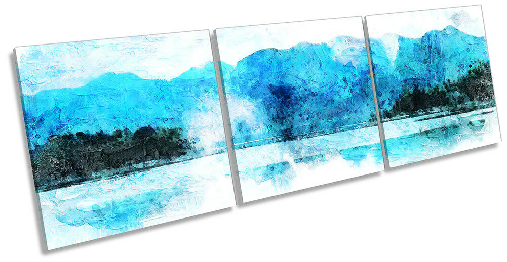 Blau Mountains Landscape Weiß Picture CANVAS WALL ART Triple Print