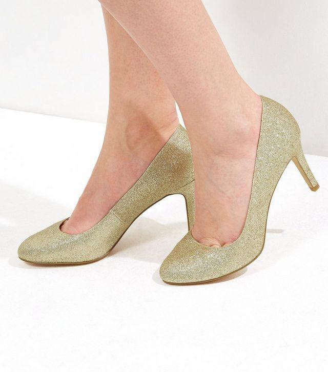 New Look Gold Glitter Comfort Court Shoes Uk 7 Eu 40 Ln182 Jj 03