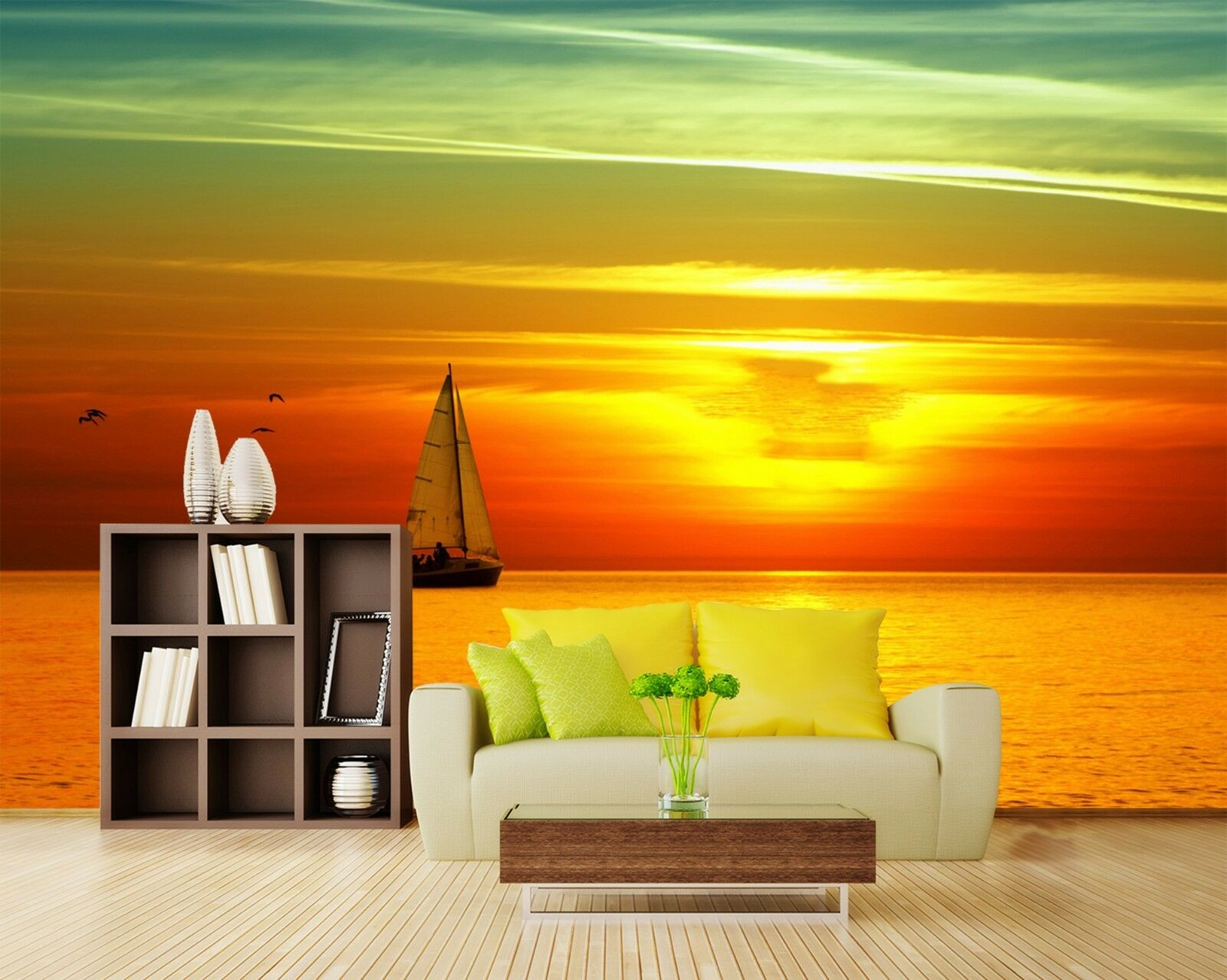 3D Sunset sailboat Wall Paper Print Decal Wall Deco Indoor wall Mural