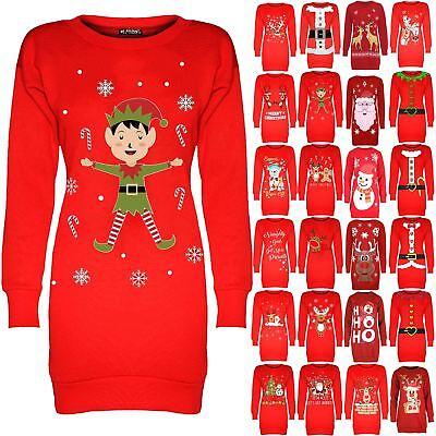 FäHig Women Christmas Elf Candy Sticks Long Tunic Ladies Jumper Sweatshirt Mini Dress Jade Weiß