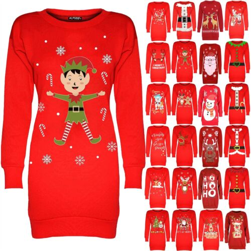 Women Christmas Elf Candy Sticks Long Tunic Ladies Jumper Sweatshirt Mini Dress