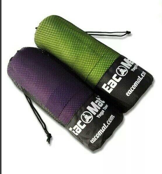 + Eacomat Twin Pack Asciugamano In Microfibra Pilates Yoga Bikram Grip Borsa Da Viaggio 65:15