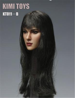 "KIMI TOYS KT011-B Long Hair Black Female Head Sculpt 1/6 Fit 12"" Action Figures"