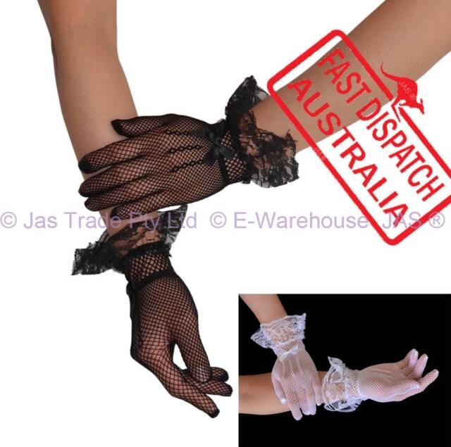 Costume Fancy Dress Party Punk 20's 80's Lace Trim Gloves Full Finger FISHNET