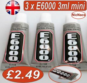 3 X E6000 Glue 3ml For Leather Rhinestones Phones Diy Jewellery Nail
