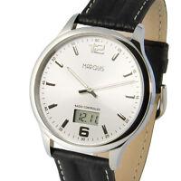 Elegante Herren Funkuhr (deutsches Funkwerk) Leder Edelstahl Armbanduhr 964.6278