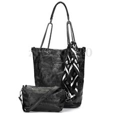 2Pcs Women Skull Handbag Shoulder Tote Purse Leather Crossbody Makeup Bag Set