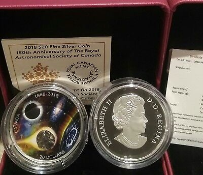 1868-2018 Royal Astronomical Society of Canada $20 Pure Silver Coin w// Meteorite