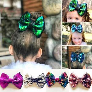 5-034-Women-Girls-Baby-Kid-Glitter-Sequin-Bowknot-Headwear-Hair-Bow-Hair-Clip-Pin
