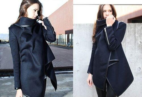 Gray NEW Womens Wooled Wrap Coat Jacket Black Small Medium 2 4 6 Navy Blue