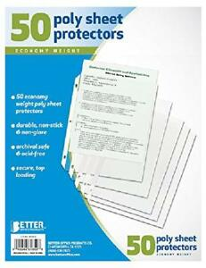 Details about 50 Clear Plastic Poly Sheet Page Protectors ACID Free Sleeves  Document Office