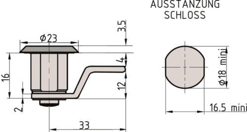 2 Schlüssel Basi HS 354 Hebelschloss mit Mutter verschiedenschließend inkl