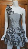 Romeo & Juliet Couture Pewter Silver One Shoulder Flower Mini Cocktail Dress