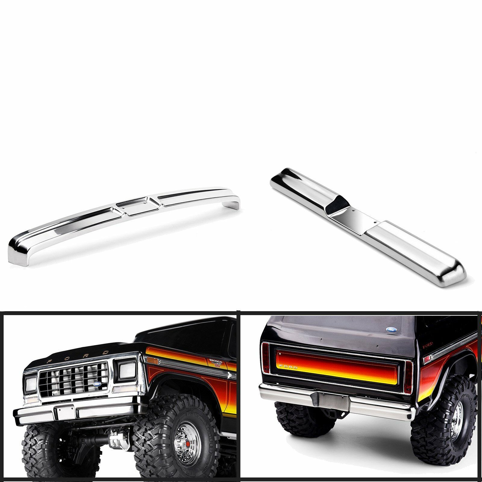 Stainless Steel Predection Front & Rear Bumper for TRAXXAS TRX-4 Bronco