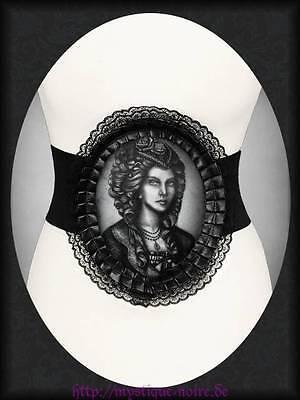 Hologramm Gürtel Viktorianische Lady Skull Totenschädel Cameo Spitze Horror