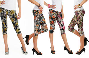 3-4-Cropped-Leggings-for-Everyone-Printed-Literal-Motive-Pants-Size-8-12-FL-ABC