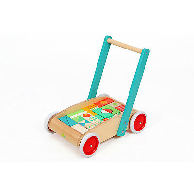 NEW Mamagenius Wooden Wagon Baby Toddler Walker with Wood Blocks Educational Toy