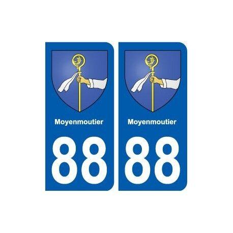 88 Moyenmoutier blason autocollant plaque stickers ville arrondis