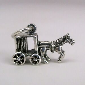 Sterling-Silver-AMISH-BUGGY-Charm-for-Bracelet-NECKLACE-Pendant-HORSE-Carriage
