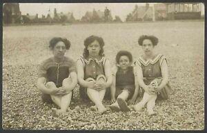 Beach-Fashion-1930-039-s-Style-4-Ladies-Pose-on-an-Unidentified-Beach-Vintage-RPPC