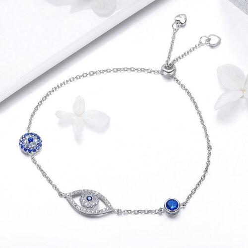Argent Sterling 925 turc evil eye Bracelet Femmes Bracelet Bijoux Réglable