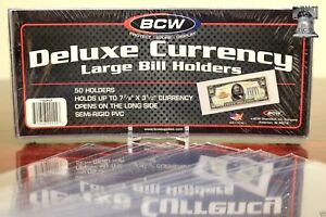 25-LARGE-BCW-DELUXE-Currency-Dollar-Bill-Banknote-Paper-Holder-SEMI-RIGID-Case