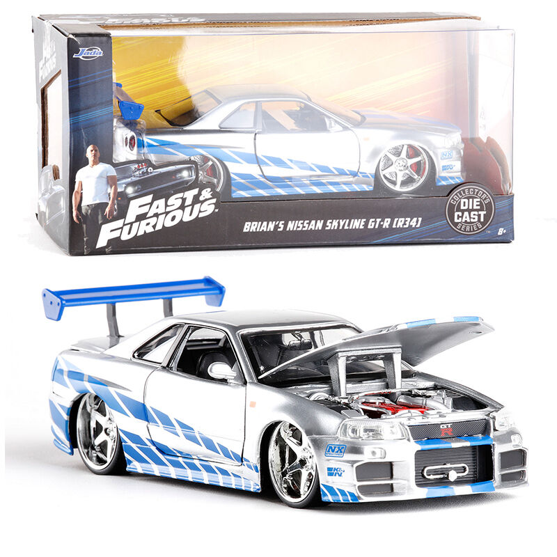 1 24 JADA FAST AND FURIOUS 7 BRIAN'S 1999 NISSAN SKYLINE GT R R34 VEHICLE TOY