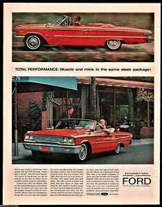 1963 Ford Red Galaxie 500 Convertible Classic Car Photo Ad Ebay