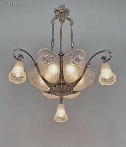 p gilles french art deco chandelier 1930 lamp lustre muller degue era ebay. Black Bedroom Furniture Sets. Home Design Ideas