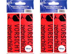 Details Zu 10 Etiketten Selbstklebend Vorsicht Zerbrechlich Paket Warn Aufkleber Glas Rot