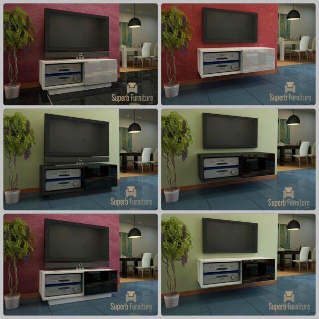 Superbe meuble tv unité armoire 100cm + flottant ou debout + gloss + led + qualité