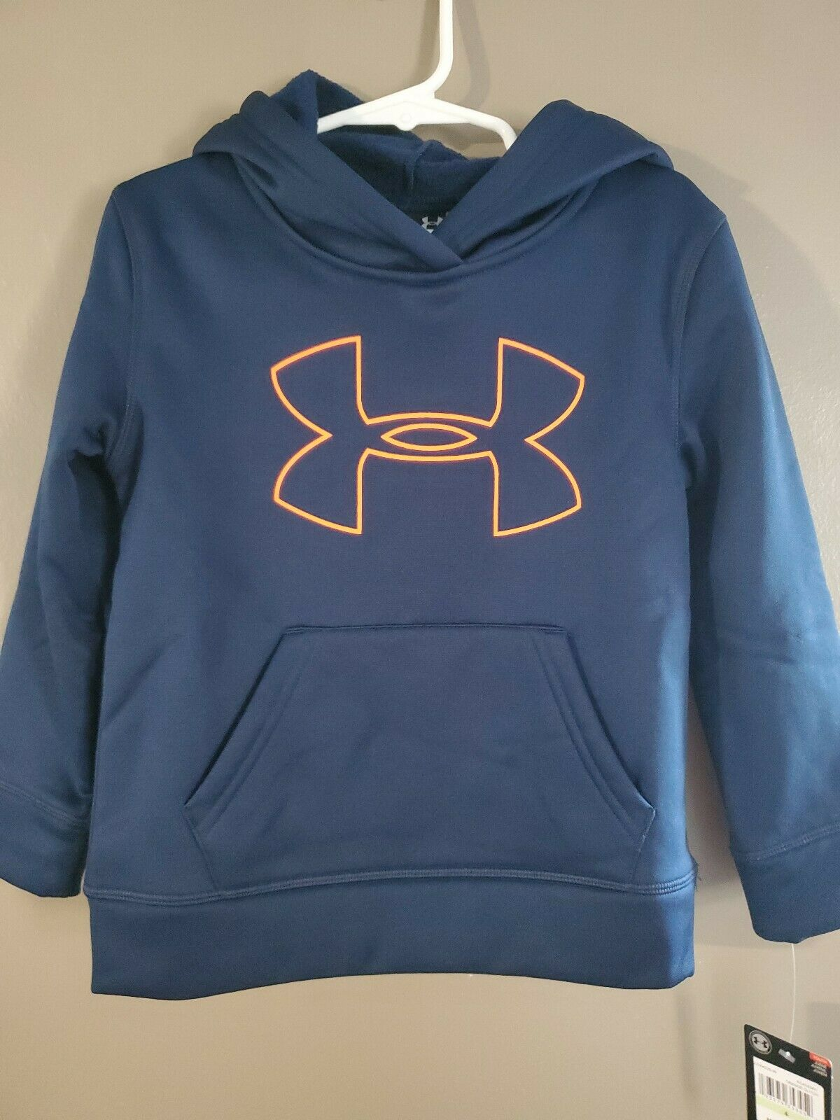 Boys Kids Youth UNDER ARMOUR Pullover Hoodie NEW Medium Steel blue Gray Neon