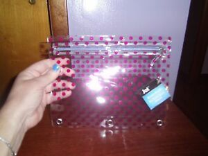 (NEW) Pen/Pencil Zippered Pouch/Clear with purple dots /For Three ring binder