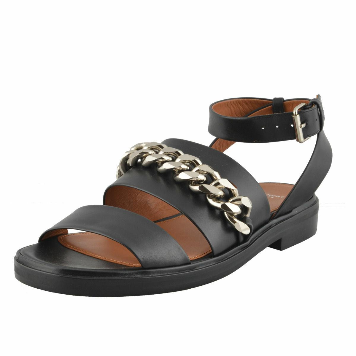 Givenchy Women's Black Leather Sandals Ankle Strap shoes Sz 7 10 11