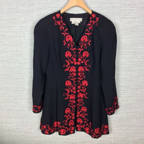 Marie St. Claire Vintage Womens Jacket Black Red … - image 1