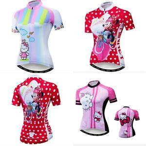 Maglia-ciclismo-Donna-Hello-Kitty-Minnie-maglietta-Bici-Bicicletta-MTB