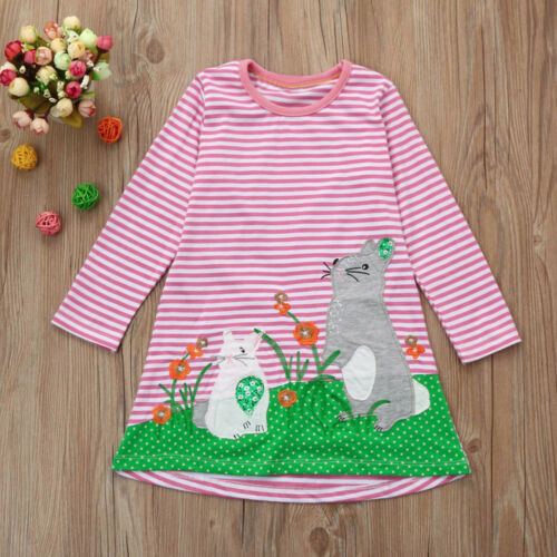 Toddler Girls Autumn Clothes Cute Animal Printed Embroidery Princess Party Dress