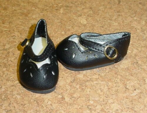 "Doll Shoes 13/"" Patsy 54mm BLACK Girl Dressy Mary Janes others P91 Toni"
