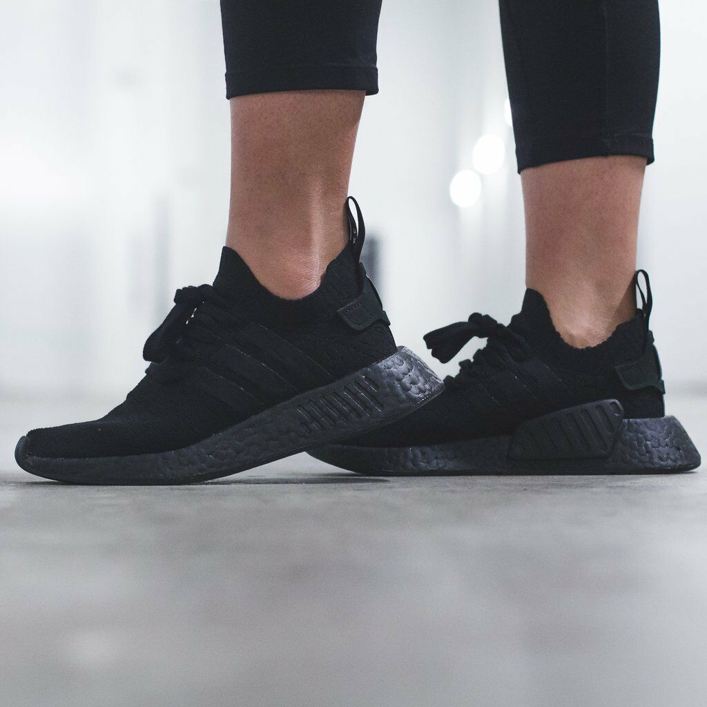 Adidas Originals NMD R2 Triple Black shoes Womens Adidas Boost Sneakers NEW