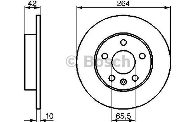 BOSCH Juego de 2 discos freno Trasero 264mm OPEL ASTRA ZAFIRA 0 986 478 884