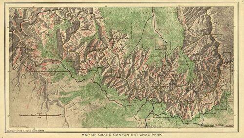 Map of Grand Canyon National Park AZ c1926 repro 20x12