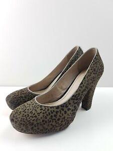 SEED-Leopard-Pony-Hair-Leather-Plathform-Classic-Pump-Heel-Women-039-s-EUR37-AS-NEW